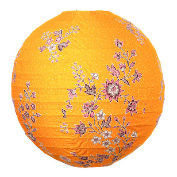 Lampion tissu boule japonaise rond jaune moutarde et fleurs