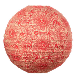 Lampion tissu boule japonaise rond rouge carmin avec mandala