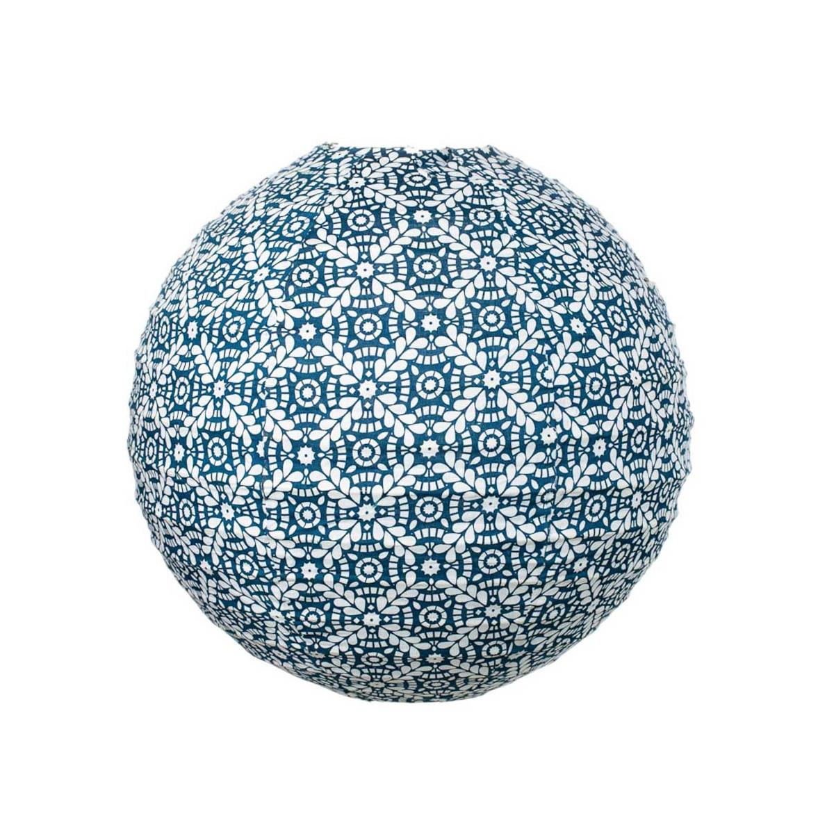 Lampion tissu boule japonaise rond bleu et blanc