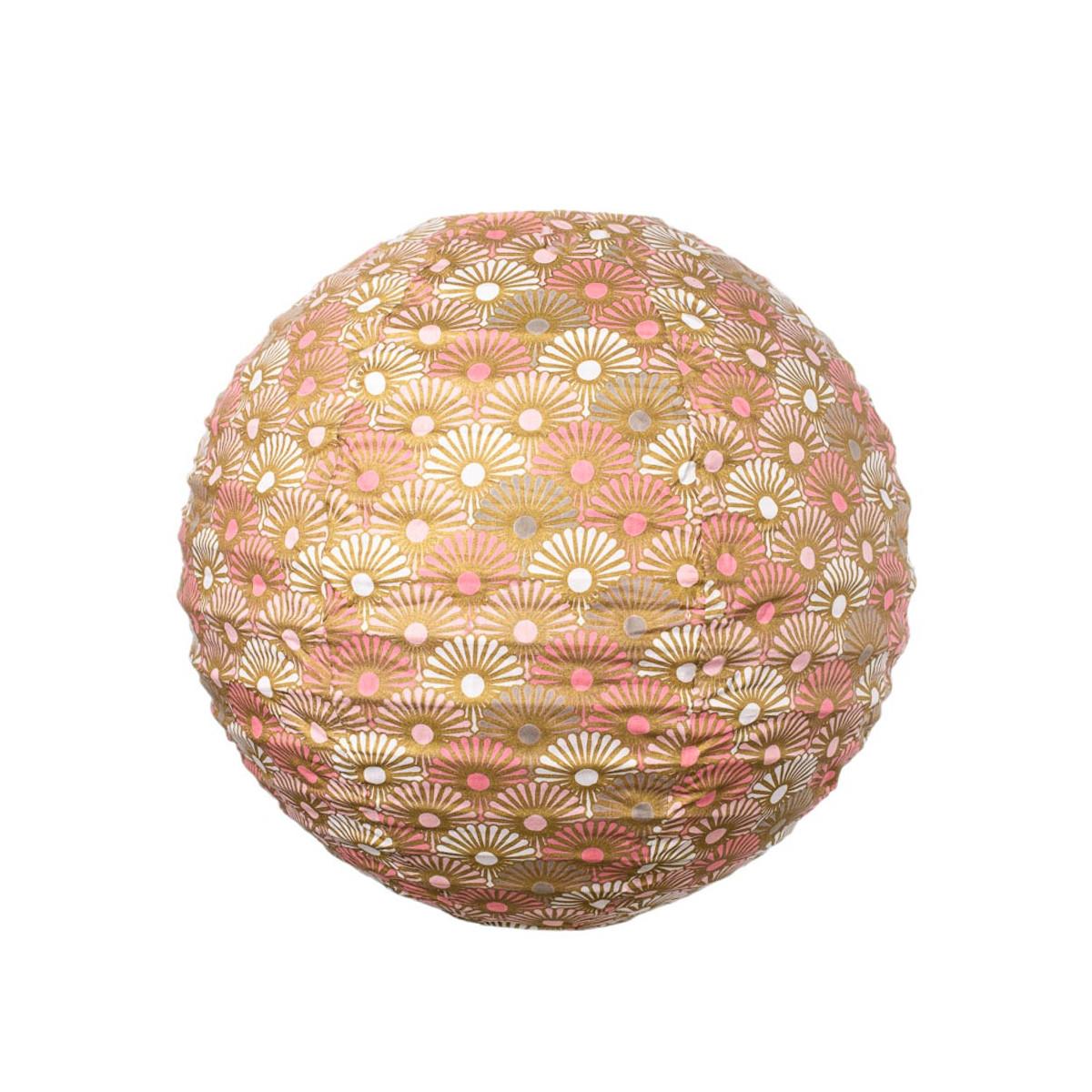Lampion tissu boule japonaise rond rose et or
