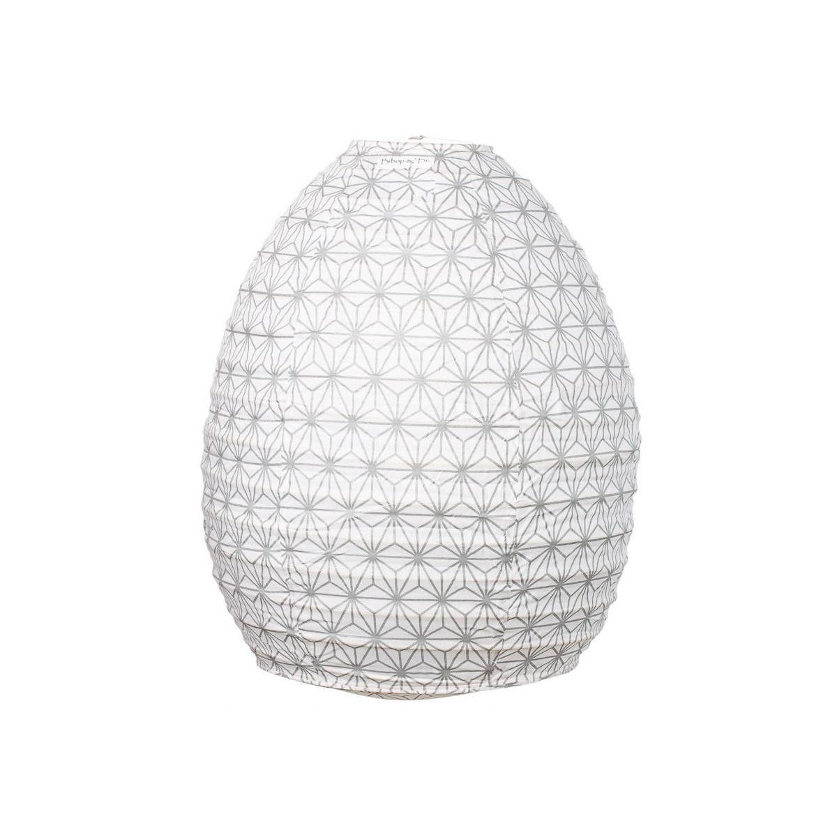 Lampion tissu boule japonaise ruche Asanoha argent