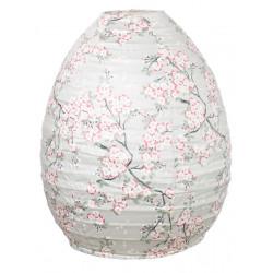 Lampion tissu boule japonaise ruche gris perle et fleurs cerisiers