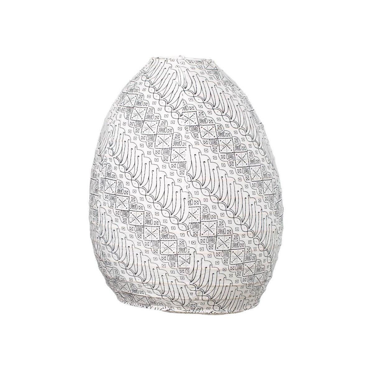 Lampion tissu boule japonaise ruche blanc et noir