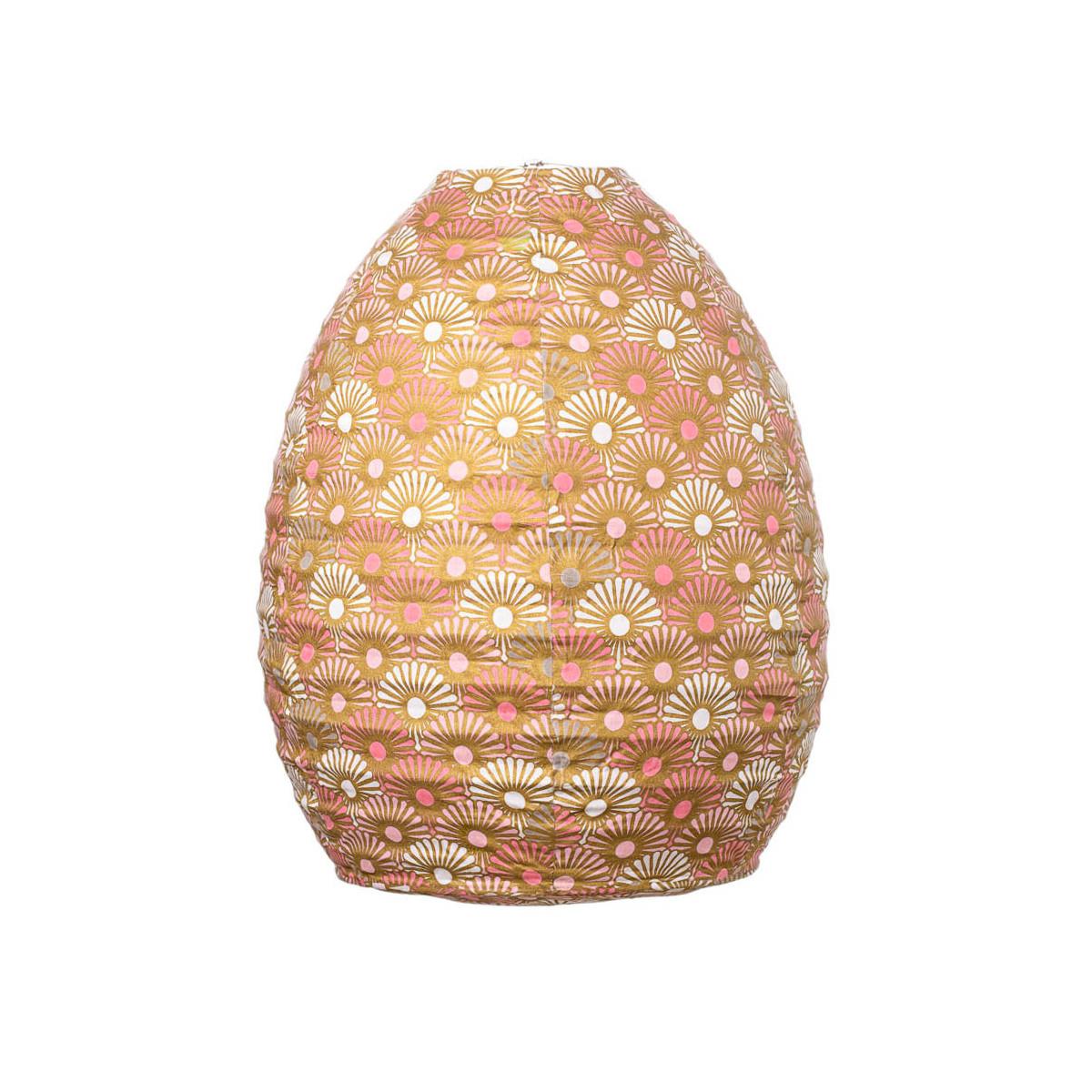 Lampion tissu boule japonaise ruche rose et or