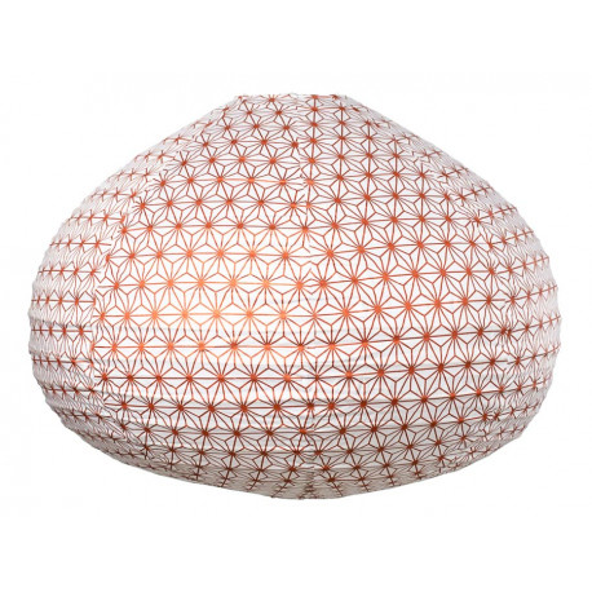 Lampion tissu boule japonaise goutte Asanoha bronze