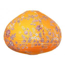 Lampion tissu boule japonaise goutte jaune moutarde et fleurs