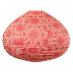 Lampion tissu boule japonaise goutte rouge carmin avec mandala