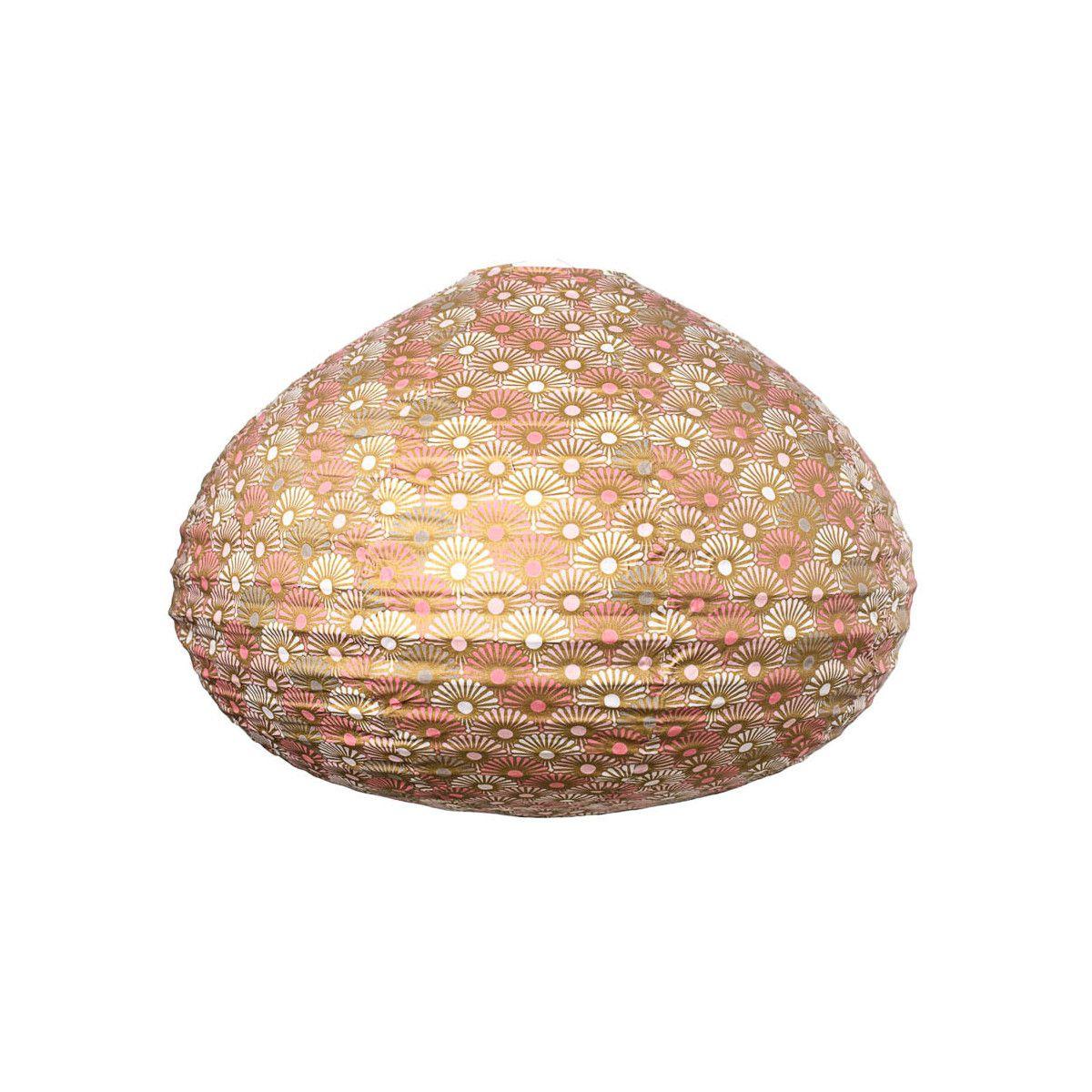 Lampion tissu boule japonaise goutte or et rose