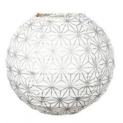 Lampion tissu boule japonaise mini rond Asanoha argent