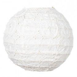 Lampion tissu boule japonaise mini rond blanc dentelle