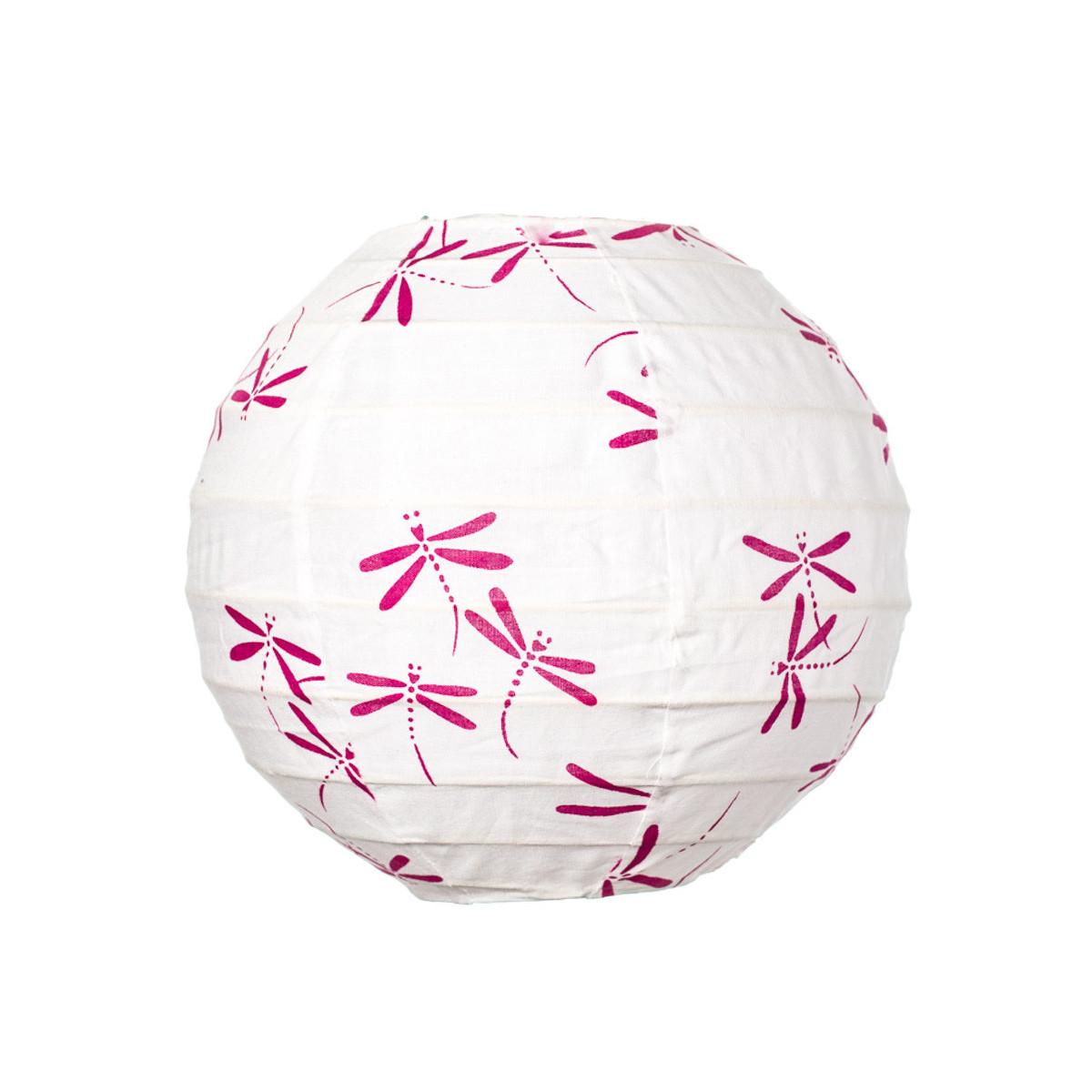 Lampion tissu boule japonaise mini rond blanc avec libellule rose