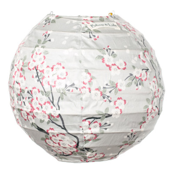 Lampion tissu boule japonaise mini rond gris perle avec fleurs cerisiers