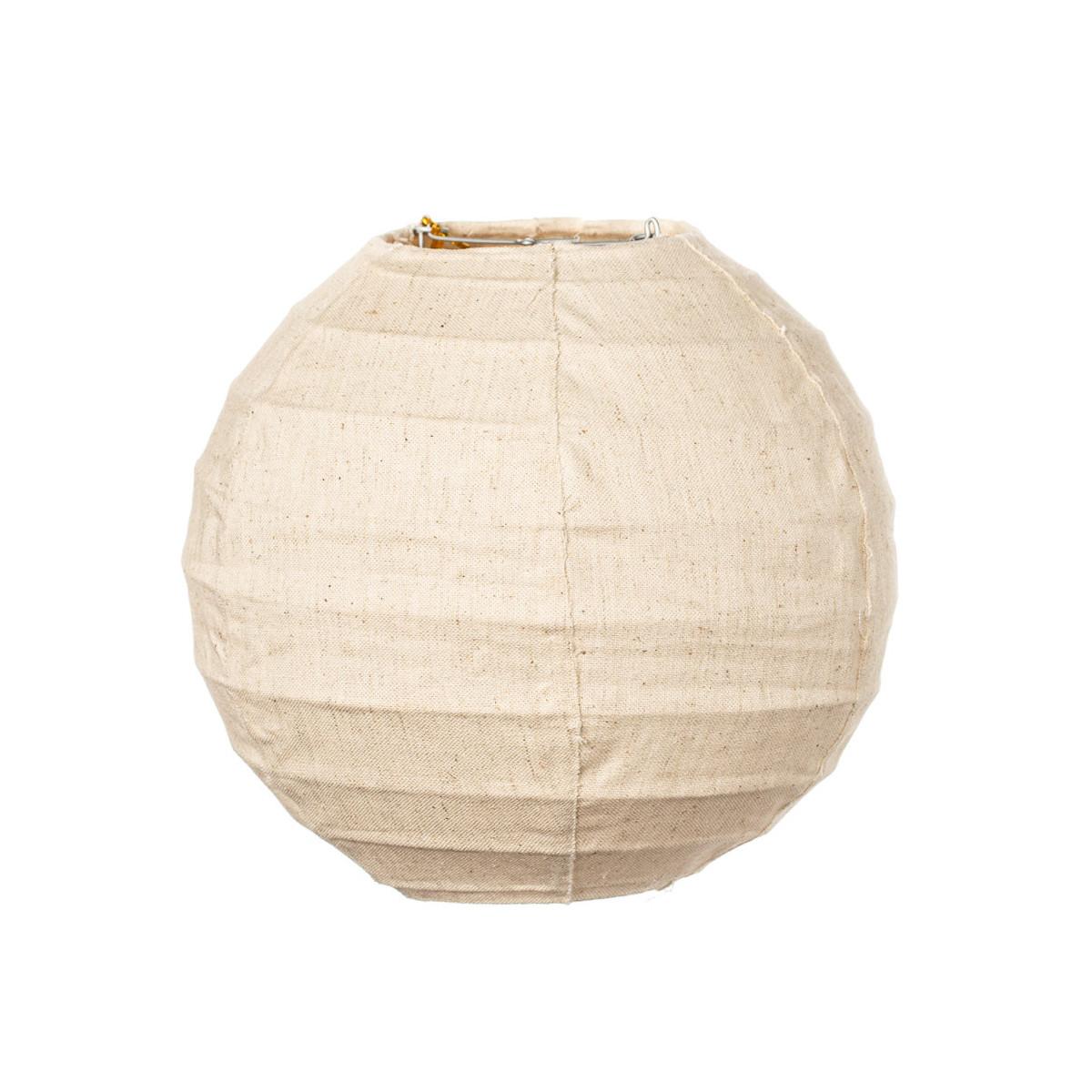 Lampion tissu boule japonaise mini rond lin beige