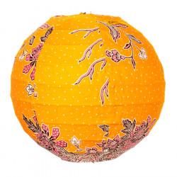 Lampion tissu boule japonaise mini rond jaune moutarde et fleurs