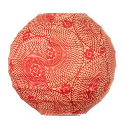 Lampion tissu boule japonaise mini rond rouge carmin motif mandala