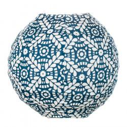 Lampion tissu boule japonaise mini rond bleu et blanc