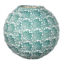 Lampion tissu boule japonaise mini rond vert et feuilles de palmier