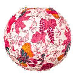 Lampion tissu boule japonaise mini rond papillons roses