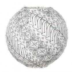 Lampion tissu boule japonaise mini rond blanc et noir