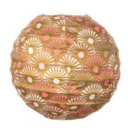 Lampion tissu boule japonaise mini rond rose et or