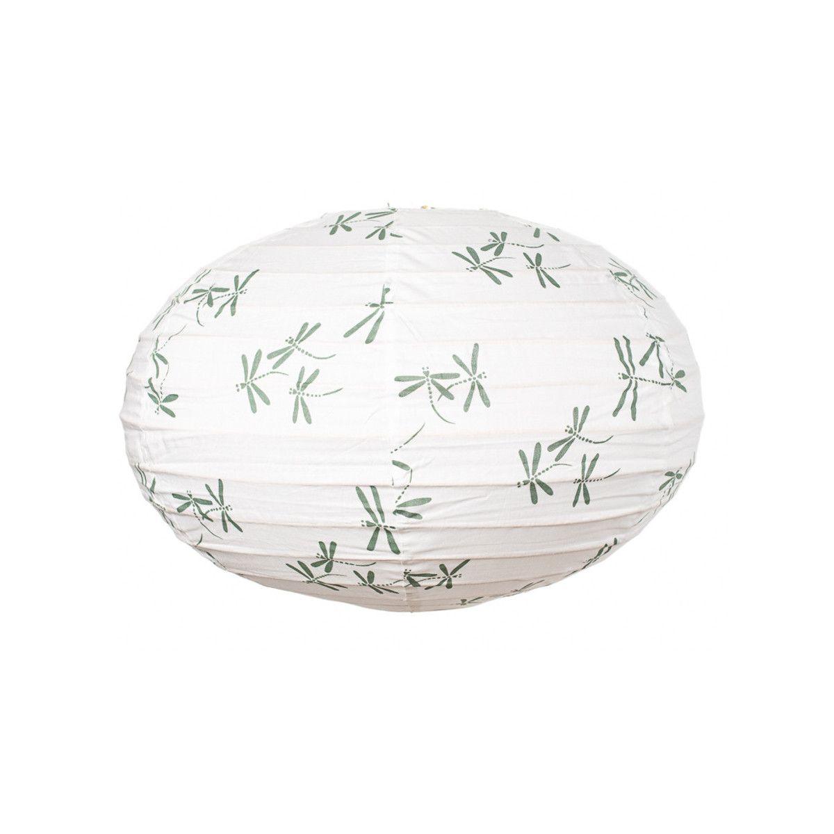 Lampion tissu boule japonaise ovale blanc et libellule