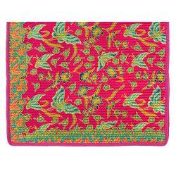Tapis déco coton rose et papillons