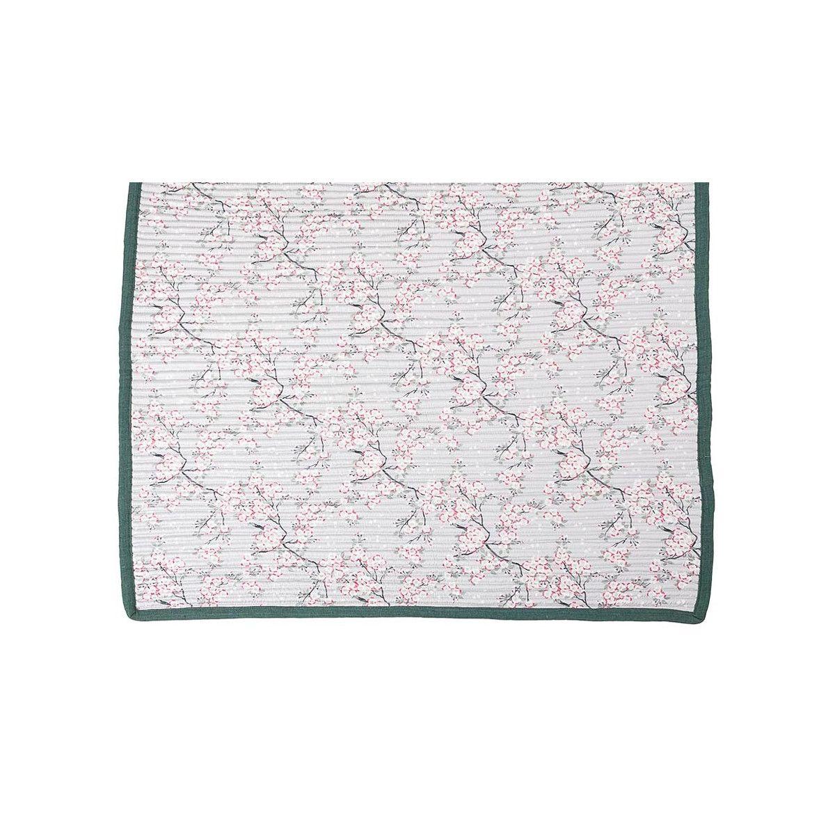 Tapis décoration intérieure coton gris perle et fleurs de cerisiers