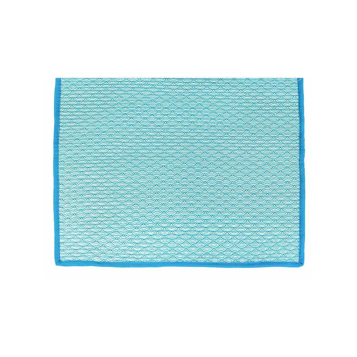 Tapis décoration intérieure coton nami bleu canard