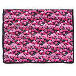 Tapis décoration intérieure coton noir et fleurs roses