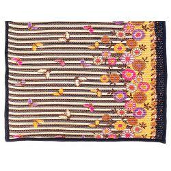 Tapis décoration intérieure coton noir jaune orange avec papillons