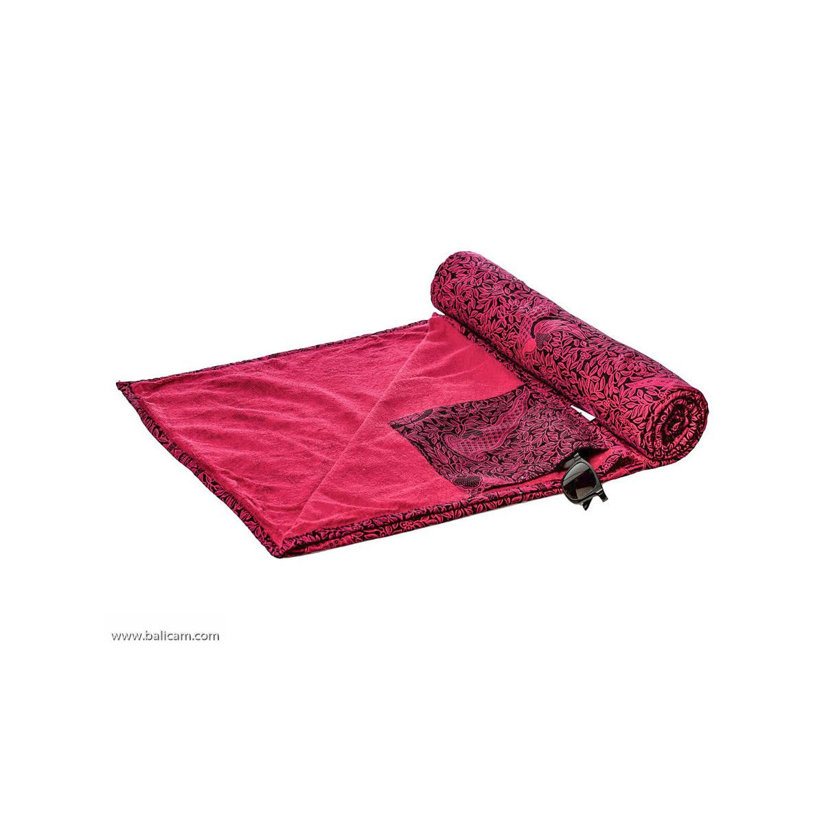 drap de plage coton original rose et noir