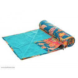drap de plage coton original bleu et papillons