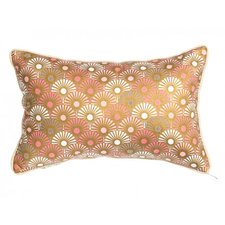 Petit coussin rectangle rose et or