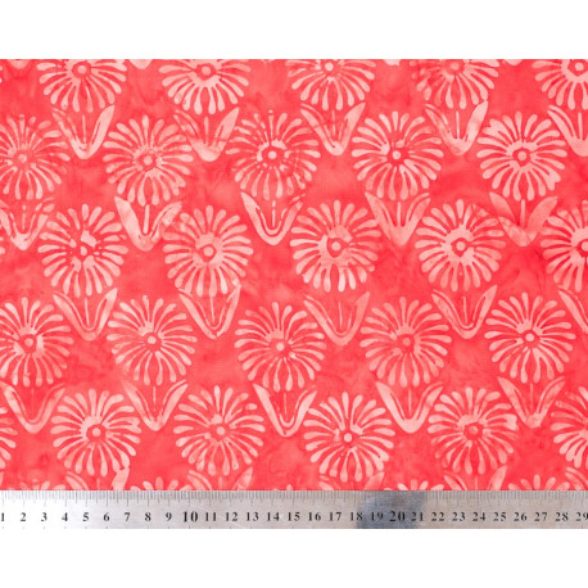 Tissu coton batik rouge fleurs