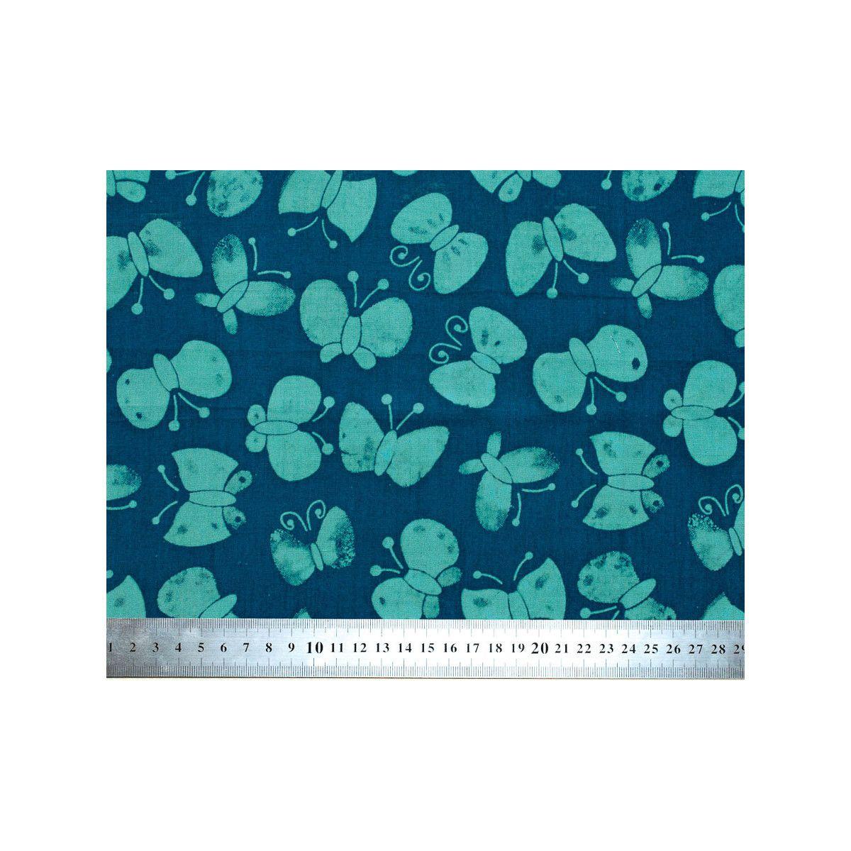 Tissu coton bleu avec papillons