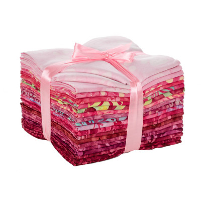 Lot de vingt fat quarters rose