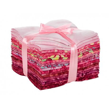 Lot de vingt batik fat quarters rose