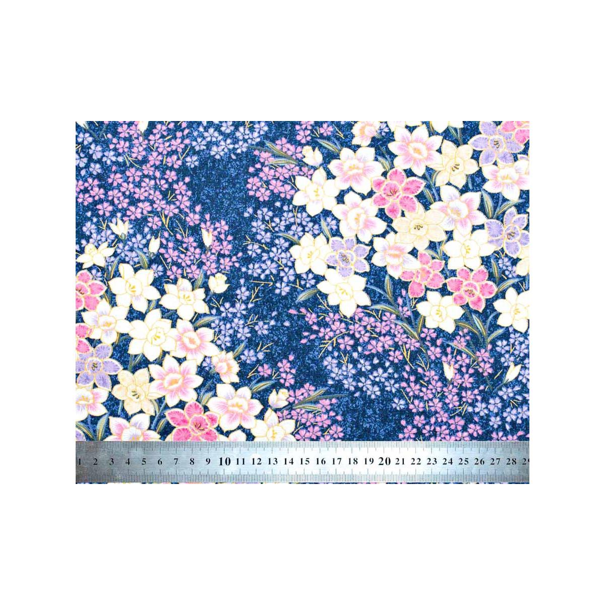 Tissu coton au mètre fleurs violet