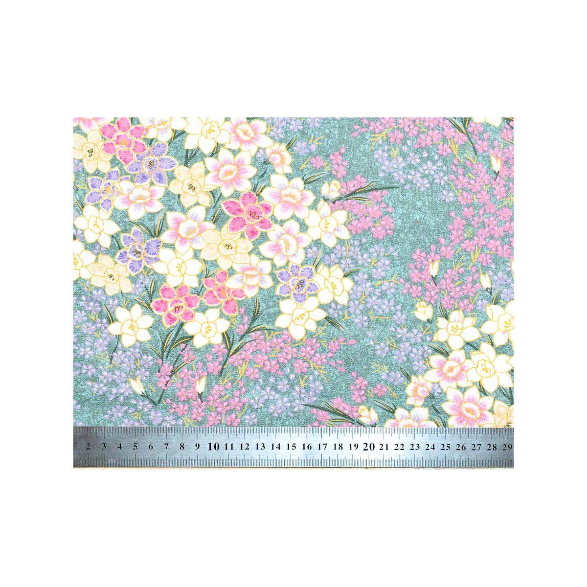 Tissu coton au mètre fleurs violet parme