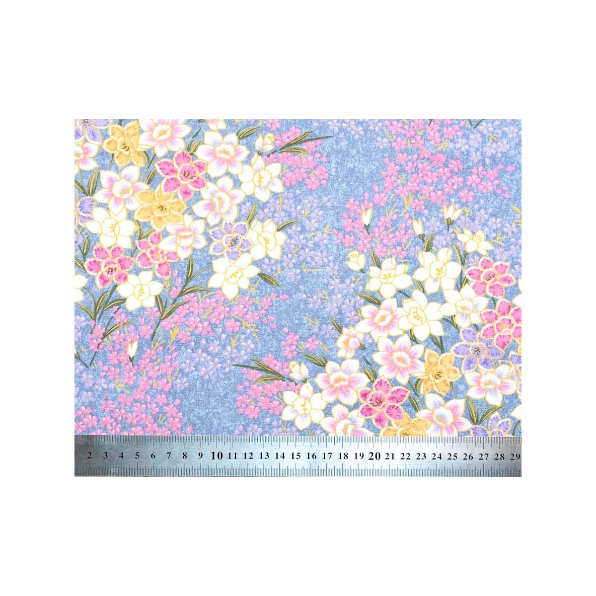 Tissu coton au mètre fleurs violet clair