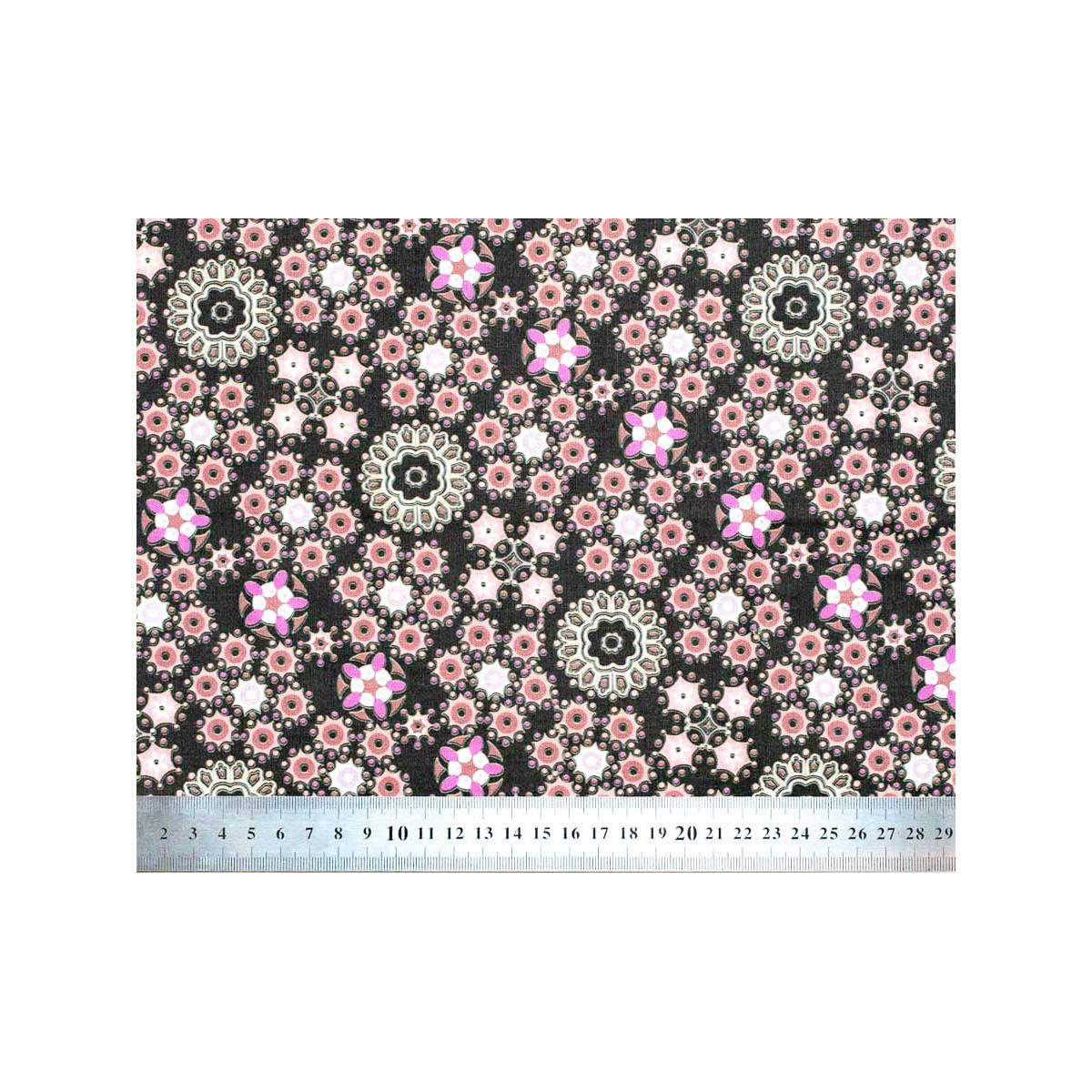Tissu coton au mètre noir et rose