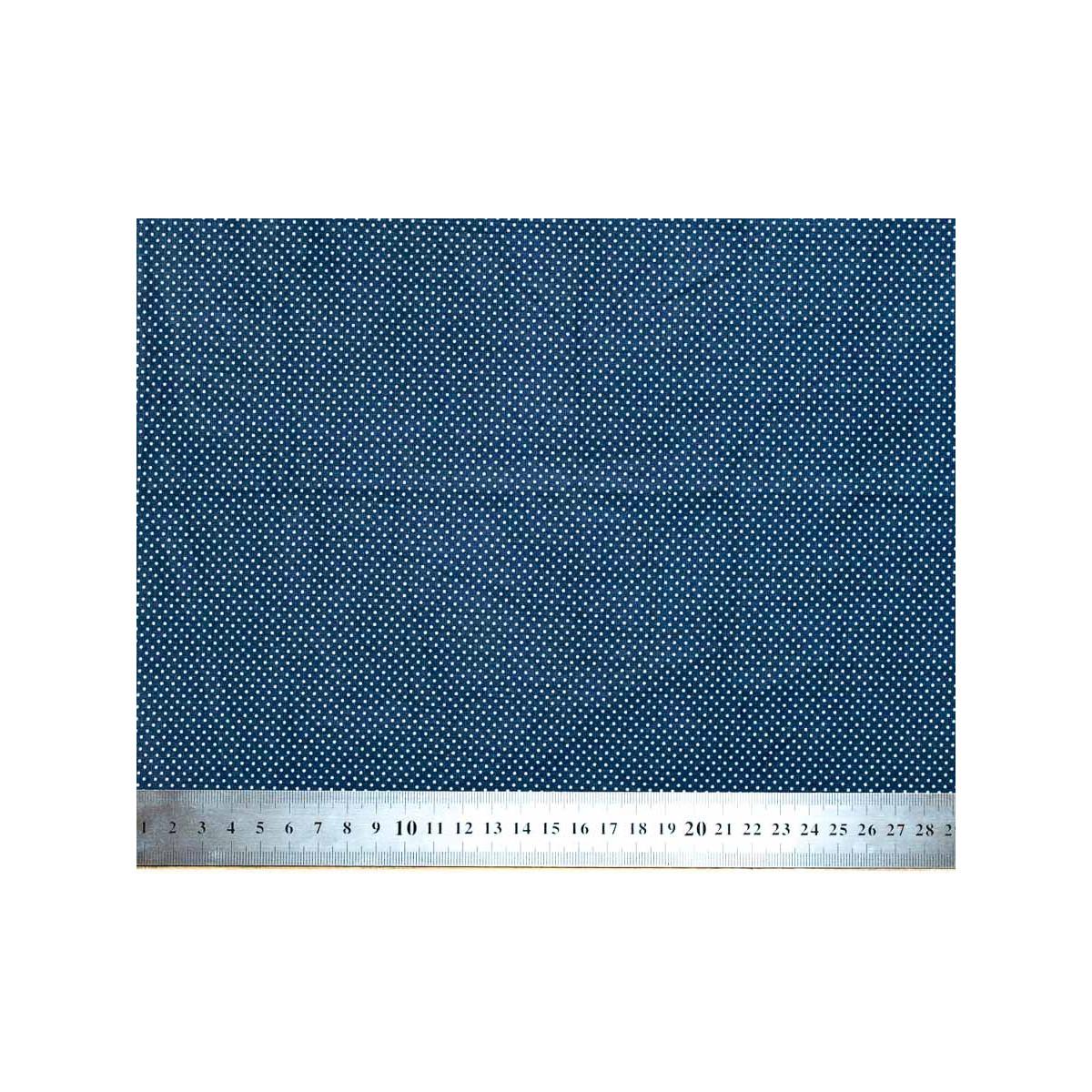 Tissu coton petits pois bleu marine