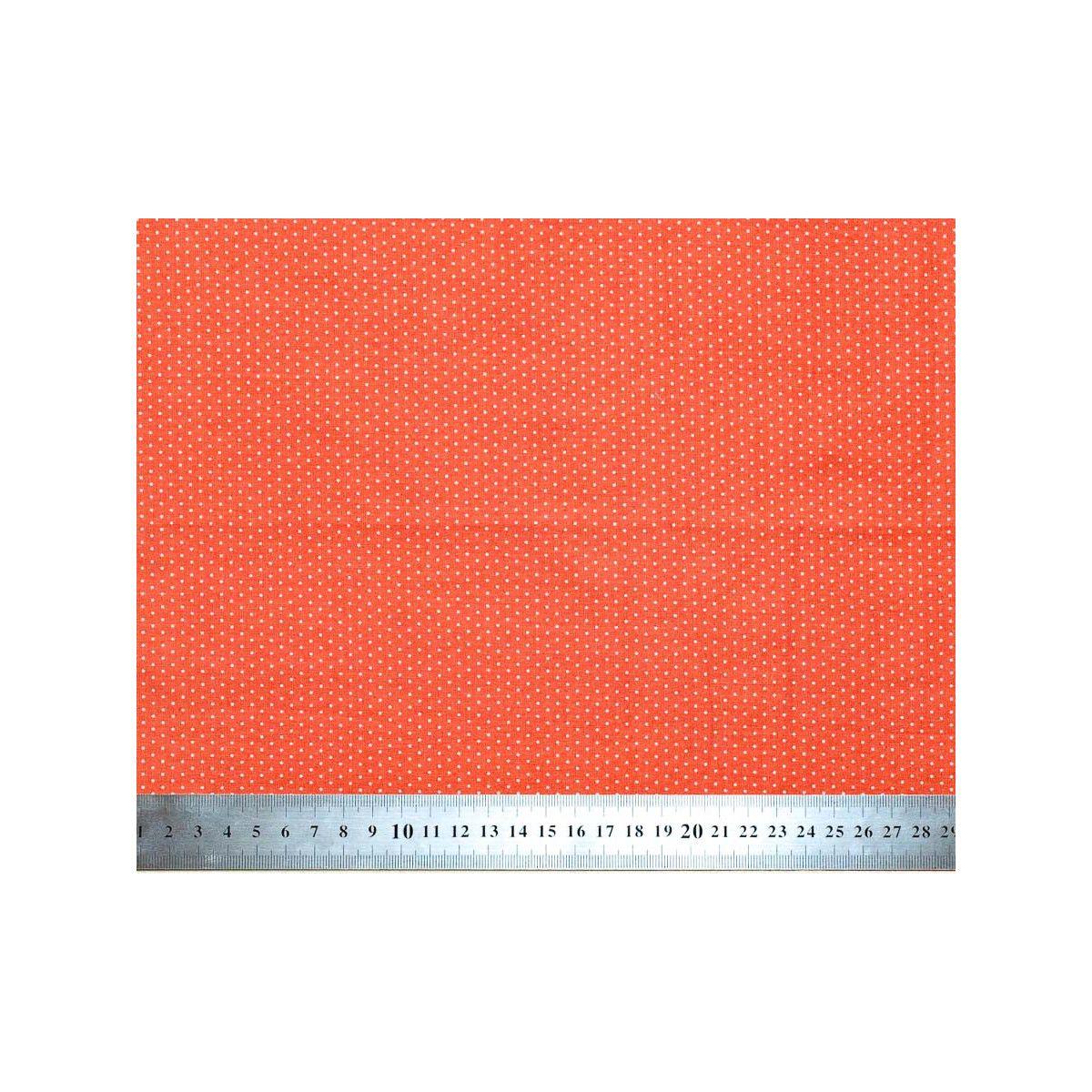 Tissu coton petits pois orange