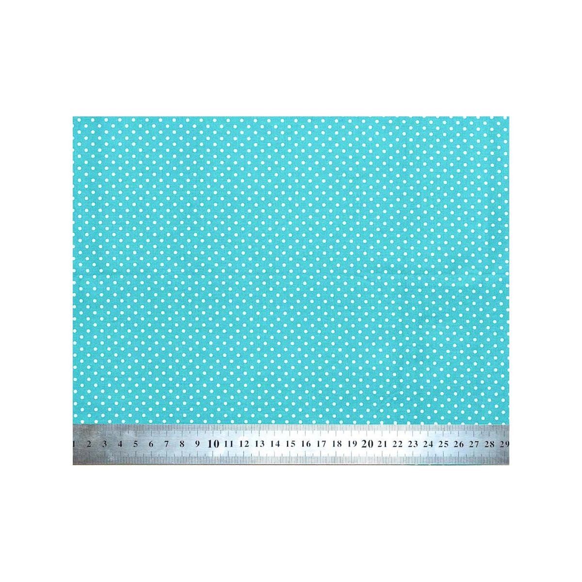 Tissu coton petits pois bleu turquoise