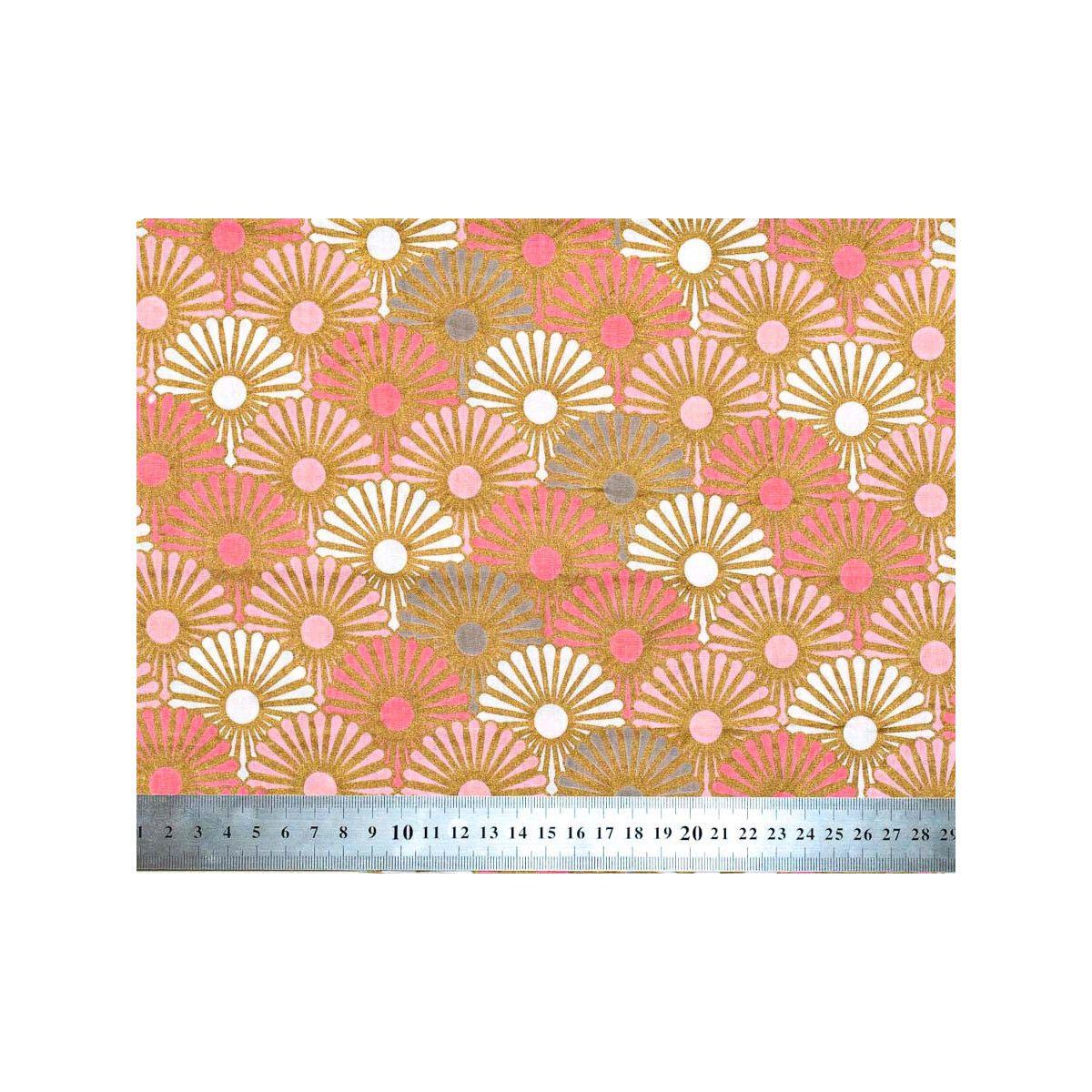 Tissu coton Solas rose et or