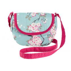 Sac à main bandoulière petite fille bleu clair et fleurs cerisiers
