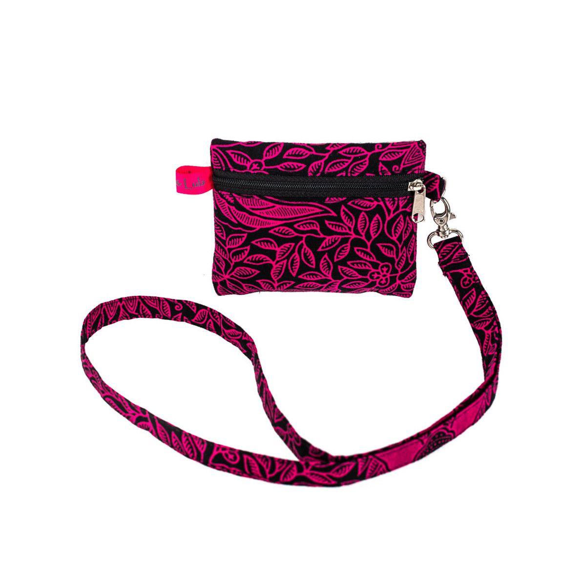 Porte badge tour de cou rose et noir