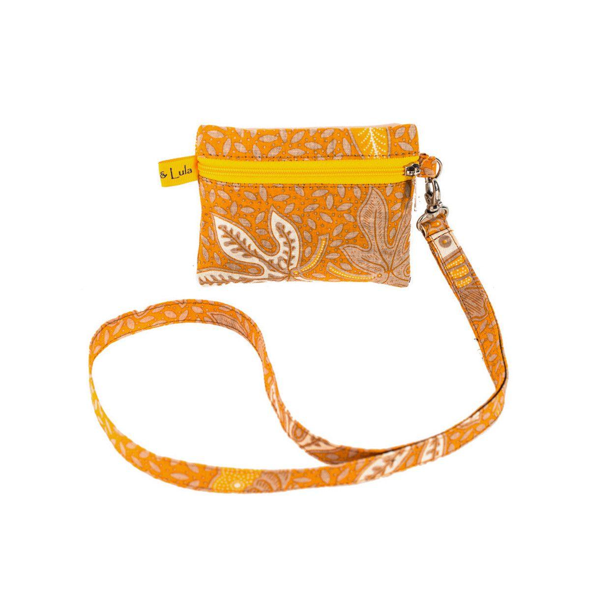 Porte badge tour de cou jaune moutarde et fleurs