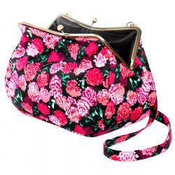 Sac à main clip rétro noir et fleurs roses