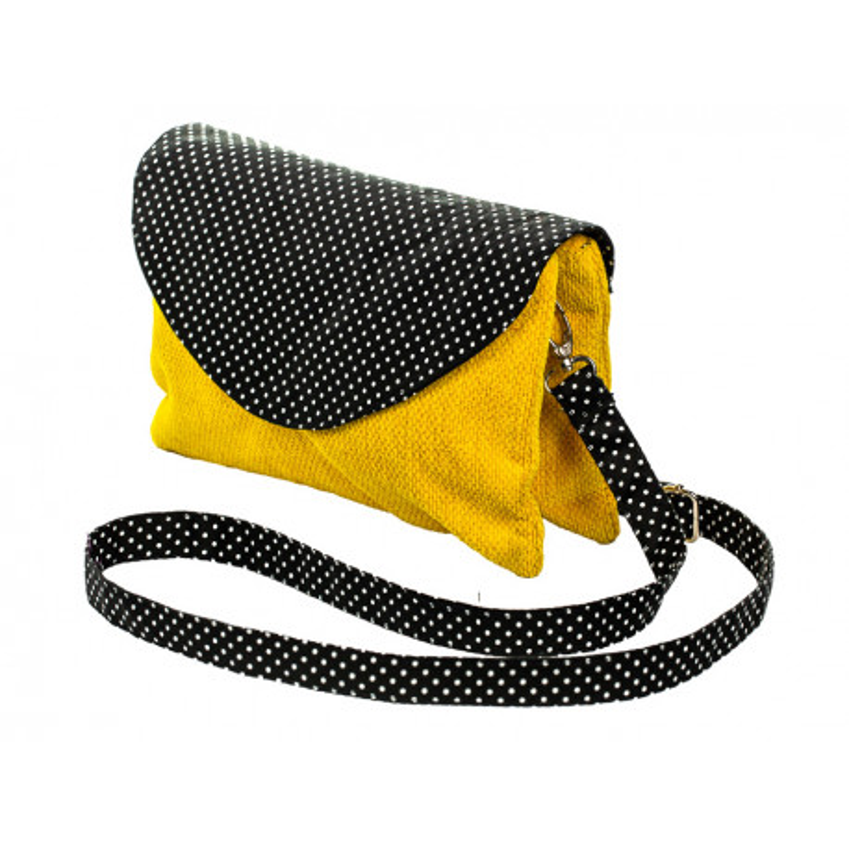 Sac double zip velours Black dots